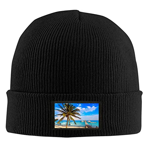 Cute Pillow Azul Puerto Morelos Beach Mayan Riviera Mujeres Slouch Beanie Hat Warm Knit Rayas Invierno Beanie Cap