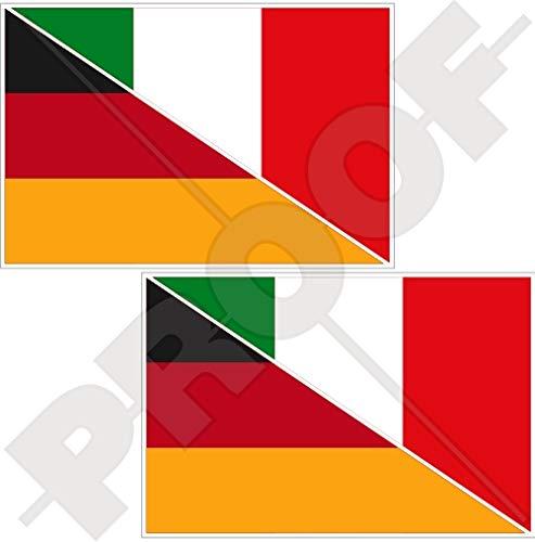 DEUTSCHLAND-ITALIEN Deutsch-Italienisch Flagge 75mm Auto & Motorrad Aufkleber, x2 Vinyl Stickers