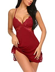 Brand: Avidlove Style: Women sexy sleepwear with sheer lace panel inset under bust, featuring lined lace cups and adjustable criss-cross spaghetti straps Occasion: Nightwear,Sleepwear,Loungewear,perfect for wedding night, honeymoon, anniversary, bedr...