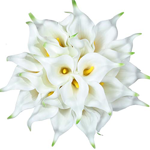 Tifuly 24pcs Calla Lily Bridal Wedding Bouquet Latex Real Touch Artificial Flowers Arrangement for Home Office Party Decor(White-Yellow Core)