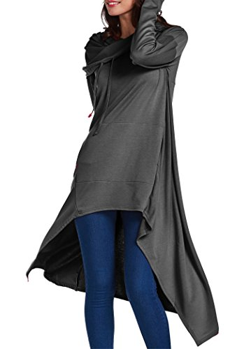 onlypuff Dark Gray Hoodies For Women Fashion Sweatshirts Plus Size Ladies Tunic Tops 3XL