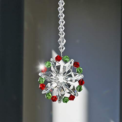 H&D Hängender Kristallkugel Prismen Blume Fengshui Ornament Sonnenfänger Rückspiegel Auto Charm Decor Nr.2
