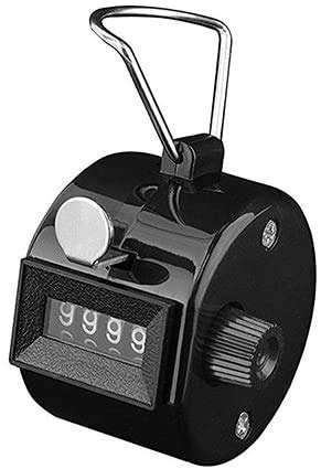 White Deer Hand Tally Counter 4 Digit Number Dual Clicker Golf Handy Convenient (Black)