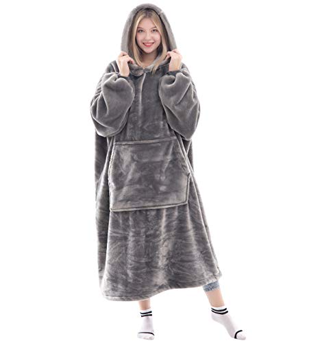 Waitu Wearable Blanket Snuggle Hoody Blanket for Adult and Child, Super Warm and Cozy Blanket Hoodie for Women and Men, Fleece Blanket with Sleeves and Giant Pocket - Gray