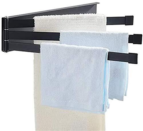 XZGDEN Calentador de Pared de baño Toalla de Toalla no Perforada, Plegado Simple Negro, rotación, Toalla de baño, Blanco (Color : Black)