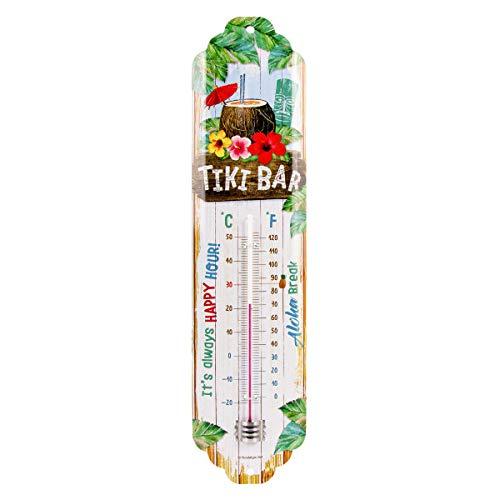 Nostalgic-Art Tiki Bar Thermometer, aus Metall, Bunt, 6.5x28 cm