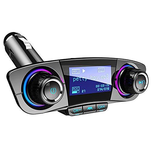 QWY-Transmisor FM Bluetooth, [Pantalla 1.2 Pulgadas] Manos Libres para Coche, Inalámbrico Reproductor MP3 Mechero Coche Adaptador Receptor con Dual USB 5V/2.4A & QC3.0, Soporte Tarjetas SD + U Disk