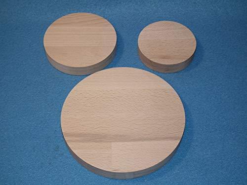 2 x Runde Holzscheibe aus Buche Leimholz 18mm dick mit 20 cm Durchmesser
