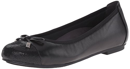 Vionic Women's Spark Minna Ballet Flat - Ladies Cap Toe Walking Flats with Concealed Orthotic Arch Support Black 10.5 Medium US