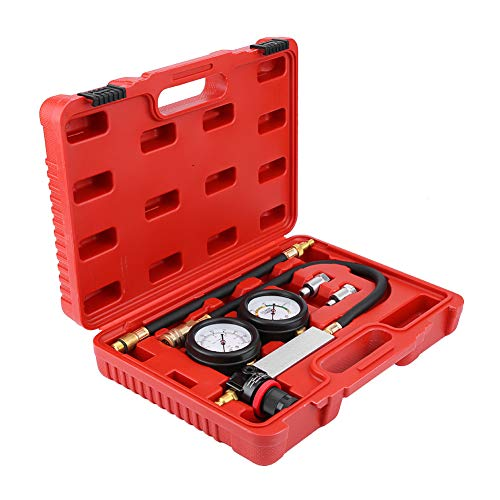Qiilu Upgrade Cylinder Leak Tester, Cylinder Leakage Leakdown Detector TU-21, 4 PCS Cylinder Leak Detector & Petrol Engine Compression Test Gauges