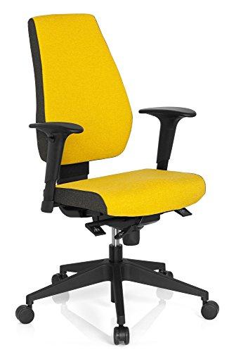hjh OFFICE 608820 Profi Bürostuhl PRO-TEC 500 Stoff Gelb Drehstuhl ergonomisch, Rückenlehne & Armlehnen höhenverstellbar