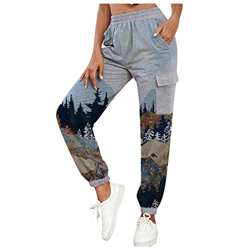 HIKO23 Women's Pants Elastic Waist with Pockets Mountain Treetop Print Jogger Workout Sports Cargo Pants Casual Trousers