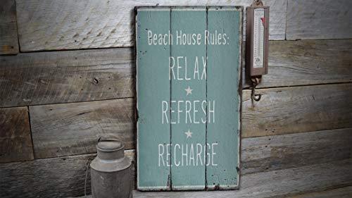 Ced454sy Beach and Relax Schild, Refreshing Decor, Recharge Beach, Beach Market Schild, Wood Sales Decor, Wood Lodge Dekor – Holz alte Schilder Dekor