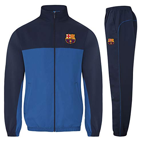 FC Barcelona Official Soccer Gift Mens Jacket & Pants Tracksuit Set Blue Small