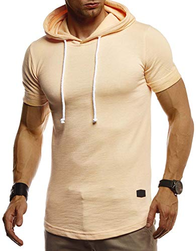 Leif Nelson Herren Sommer T-Shirt mit Kapuze Slim Fit Baumwolle-Anteil Cooles Basic Männer T-Shirt Kapuzenshirt Jungen Kurzarmshirt Kurzarm Lang LN8317 Orange Large