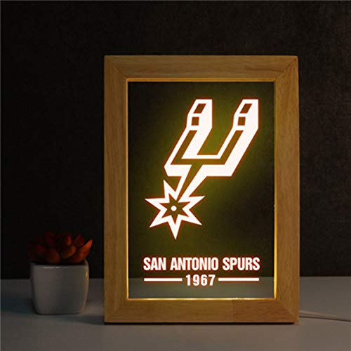 San Antonio Spurs Photo Frame Led Night Light,NBA Cupboard Night Light with USB Charging Cable Rechargeable Night Light for Adults And Children (17 * 23 * 2Cm)