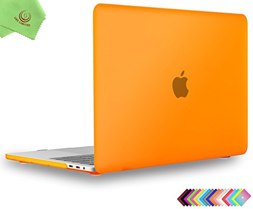 UESWILL MacBook Pro 15 inch Case 2019 2018 2017 2016, Smooth Matte Hard Case for MacBook Pro 15 inch with Touch Bar/USB-C (Model: A1990/ A1707) + Microfibre Cleaning Cloth, Orange