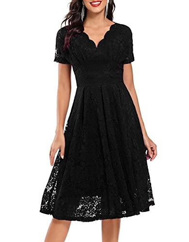 VILOREE Elegante vestido de encaje para mujer, media manga, vestido de cóctel para fiesta de graduación, Negro , M