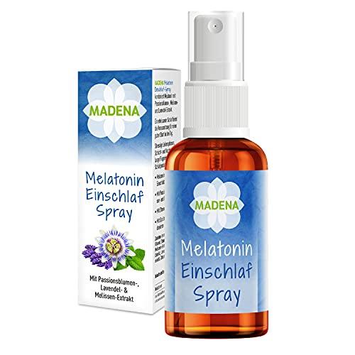 MADENA Melatonin Einschlafspray, besondere Kombination mit Extrakten aus Passionsblume, Melisse, Lavendel, ohne Süßungsmittel und Konservierungsstoffe