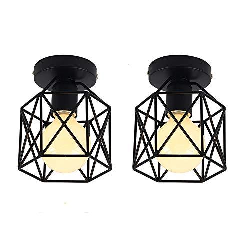 iDEGU, plafondlamp, industriële vorm, vierkante kooi, metalen lampenkap, E27, zwart