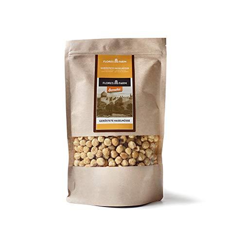 FLORES FARM - DEMETER Haselnüsse (500g) | BIO zertifizierte geröstete Nüsse mit transparenten...