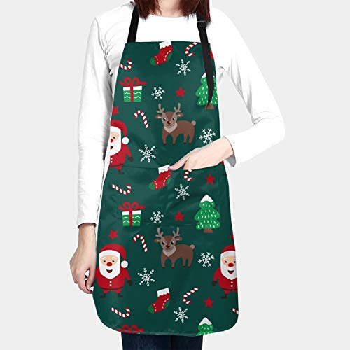 Christmas Santa Claus And Deers Kitchen Aprons For Women Men Plus Size With 2 Pockets Waterproof Adjustable Neck Strap For Thanksgiving,Christmas,Cooking,Baking & Painting