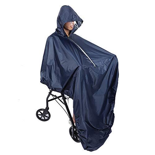 Poncho para silla de ruedas, Poncho impermeable para silla de ruedas con capucha Suave Silla para ruedas Cubierta para lluvia Abrigo Nylon/Cremallera/Diseño elástico Capa de protección contra la lluvi