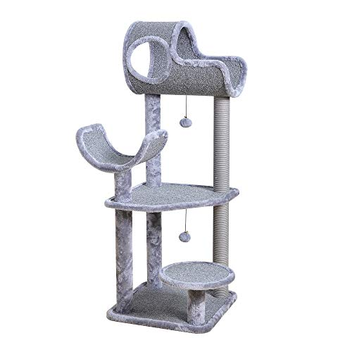 Catry Large Cat Tree Tower with Paper Rope Covered Scratching Post Hammock Tunnel for Multiple Cats Activity Center Gray