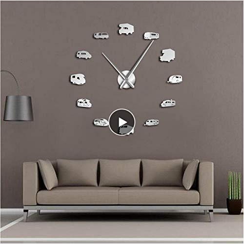 xtmyz Relojes de Pared Bricolaje Autocaravana Autocaravana Decoración para el hogar RV Camping DIY Reloj de Pared Gigante Remolque de Viaje Transporte Vehículos recreativos Reloj de Pared