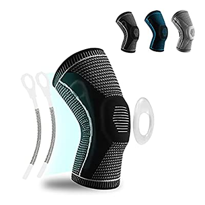 RYOQYUS Knee Brace,Knee Compression Sleeve Knee Support with Patella Gel Pad & Side Spring Stabilizers,Medical Knee Protector for Running Meniscus Tear Arthritis Joint Pain Relief Injury Recovery(XL) from RYOQYUS