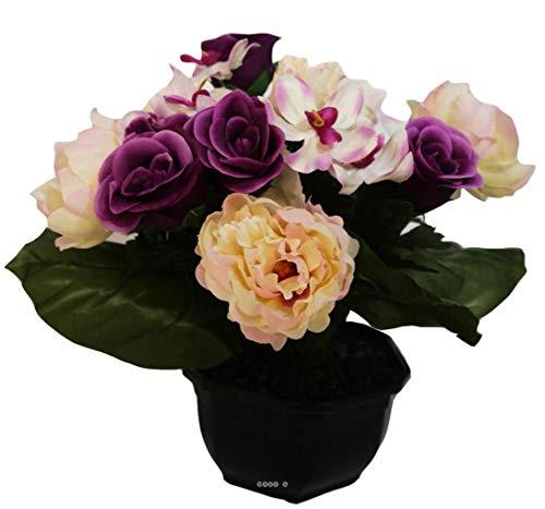 Artificielles.com - Composition Vasque Rose, Pivoine lestee pour Exterieur H 32 cm Lavande - Couleur: Lavande