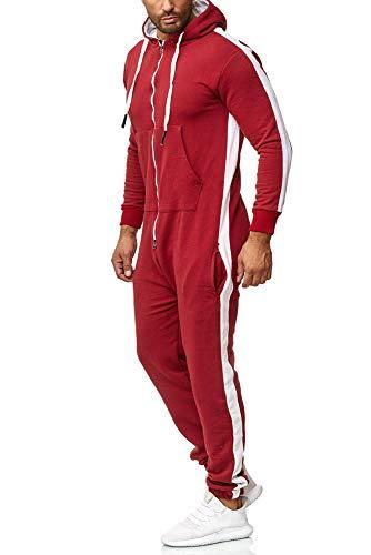 OneRedox Herren Trainingsanzug Unisex Jogger Jumpsuit Jogging Anzug Overall Einteiler Modell 1257 Rot S
