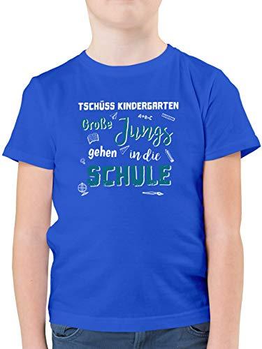 Einschulung und Schulanfang - Tschüss Kindergarten Große Jungs - 140 (9/11 Jahre) - Royalblau - Geschenke Jungen 6 Jahre - F130K - Kinder Tshirts und T-Shirt für Jungen