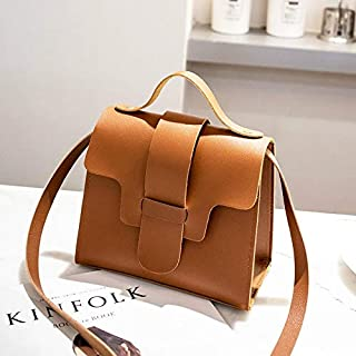 Fashion Single-Shoulder Bags Casual Leather Crossbody Bags for Women PU Leather Handbags Tote Shoulder Bags Messenger(Red) (Color : Brown)