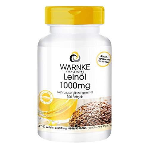 Warnke Vitalstoffe Huile De Lin 1000 mg - 100 gélules molles - Préssé à froid - 52,6% d'acide alphalinolénique