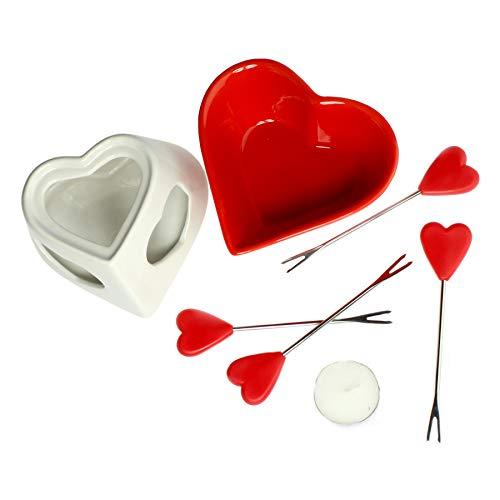 Monsterzeug Schokoladenfondue in Herzform, Süßes Fondue Set, Set mit Fondue und 4 Gabeln, Fondue Schokolade