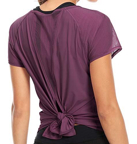 QUEENIEKE Women Yoga Tied Up Mix & Mesh Short Sleeve T-Shirt Sports Tee Top L Color Fuchsia-