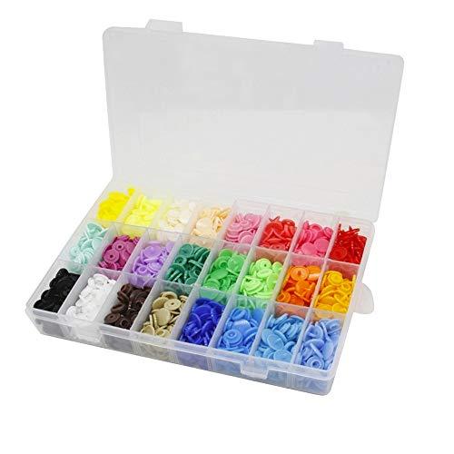 Bestgle 24 Colores de 408 Piezas de Plástico Snaps Botones Redondos Plasticos Multicolor,Organizador de Cajas de Almacenamiento para Costura y Manualidades