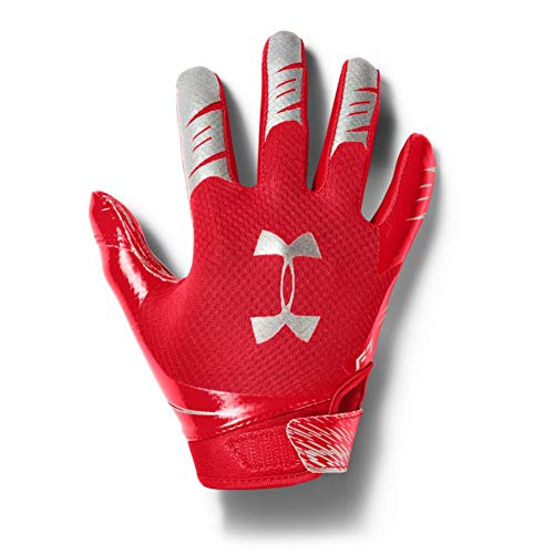 Under Armour Boys' F7 Youth Football Gloves , Red (600)/Metallic Silver , Youth Small