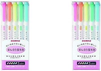 Zebra MILD LINER, Double Sided Highlighter, 5 Set (WKT7-5C)