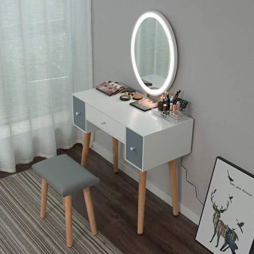 Yourlite - Tocador de maquillaje, espejo de mesa de cosméticos Vanity tocador, mueble para maquillaje de dormitorio, con taburete, cómoda con LED, color blanco, tres cajones