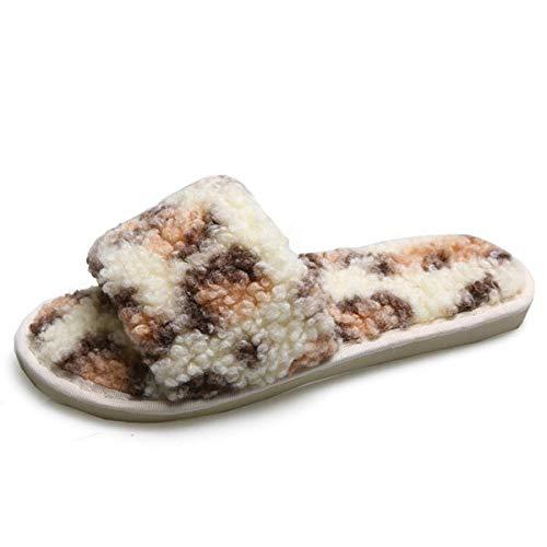 Zapatillas Casa Para Mujer Terry Slip In Clog Slipper Mujer Memory Foam Fluffy Soft Leopard Print Pink...