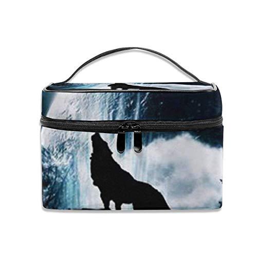 Wolf Howling at the Moon Travel cosmeticatas, draagbaar, voor kunstenaars