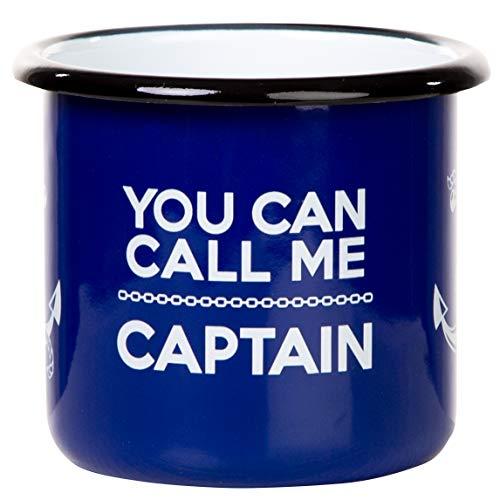 Mugsy You Can Calm Me Captain - Taza esmaltada retro en color...