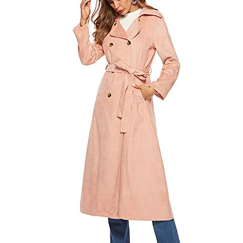 JYKING Damen Fleecejacken Mantel Lange Trenchcoat Schlank Winterjacke Revers Slim Fit Mode Casual Langarm