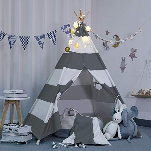 scriptract Kids& Pets 6ft Teepee Tent Playhouse 100% Natural Cotton Canvas with Window & Carrying Bag ,Foldable Playhouse for Indoor & Outdoor(Grey&White Stripe)