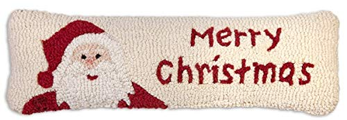 "Chandler 4 Corners Artist-Designed Merry Santa Hand-Hooked Wool Decorative Christmas Throw Pillow (8"" x 24"")"