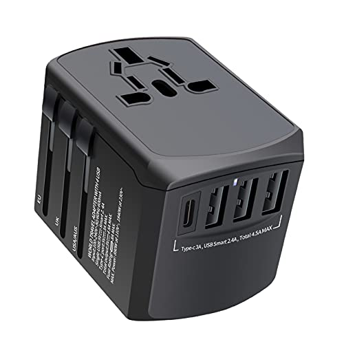 Universal Travel Adapter, NEWVANGA International Power Adapter, Worldwide All in One Rapid Charge with 3 USB & 1 Type-C Ports Plug Adapter Converter Wall Charger for European UK AUS Asia Phone Laptop