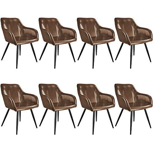 tectake 800880 Set 8x Sedia Imbottita, Morbido Rivestimento in Similpelle, Forma Ergonomica con Angoli Arrotondati, Cappucci in Plastica, Versatile e Abbinabile (marrone scuro-nero)
