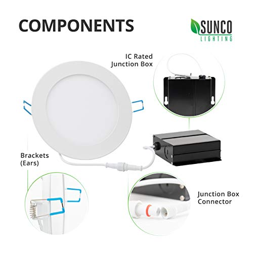 Sunco Lighting 12 Pack 6 Inch Slim LED Downlight with Junction Box, 14W=100W, 850 LM, Dimmable, 3000K Warm White, Recessed Jbox Fixture, Simple Retrofit Installation - ETL & Energy Star